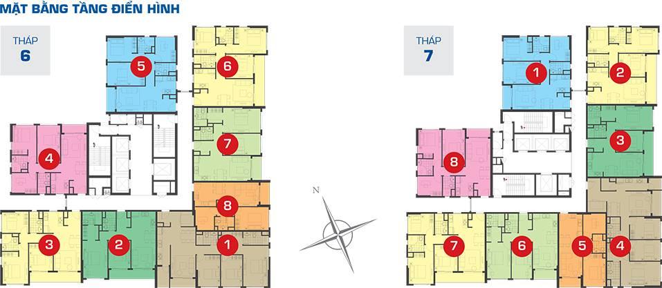 Mặt bằng T6 T7 căn hộ The Sun Avenue Novaland quận 2